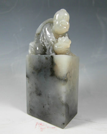 Chinese Art Agalmatolite Shanshan Stone Lucky Boy Carving - 寿山石
